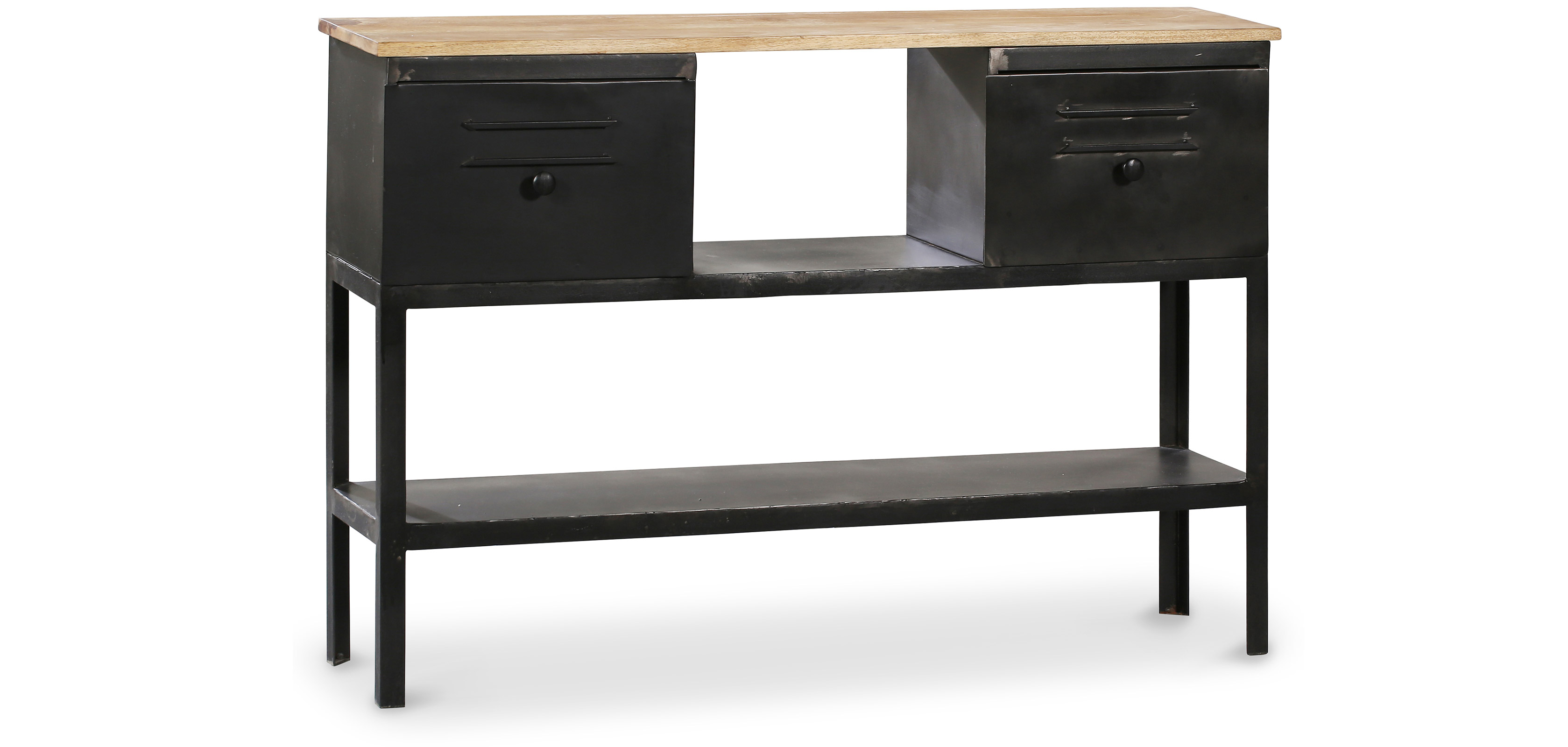 Industrial Console table 2 drawers Metal