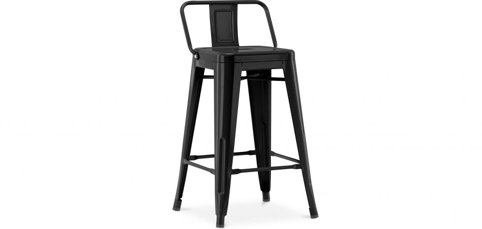 Buy Tolix Style stool with small backrest - 60cm Black 58409 - in the EU