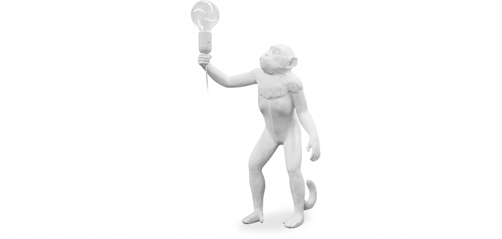 Buy Monkey Standing Design table lamp - Resin White 58443 - in the EU