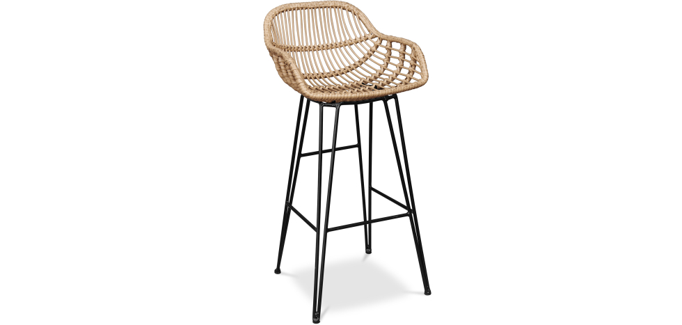 Buy Synthetic wicker bar stool  Natural wood 59256 - in the EU