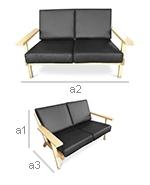 Design Sofa Scandinavian - 2 seater - Premium Leather - Dimensions