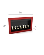 Contemporary Wall-Mounted Ethanol Fireplace - Bright Red - Dimensions