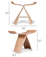 Fly Stool Nordic Style - Wood  - Dimensions