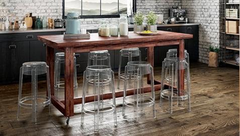 Transparent Stools around Dining Table