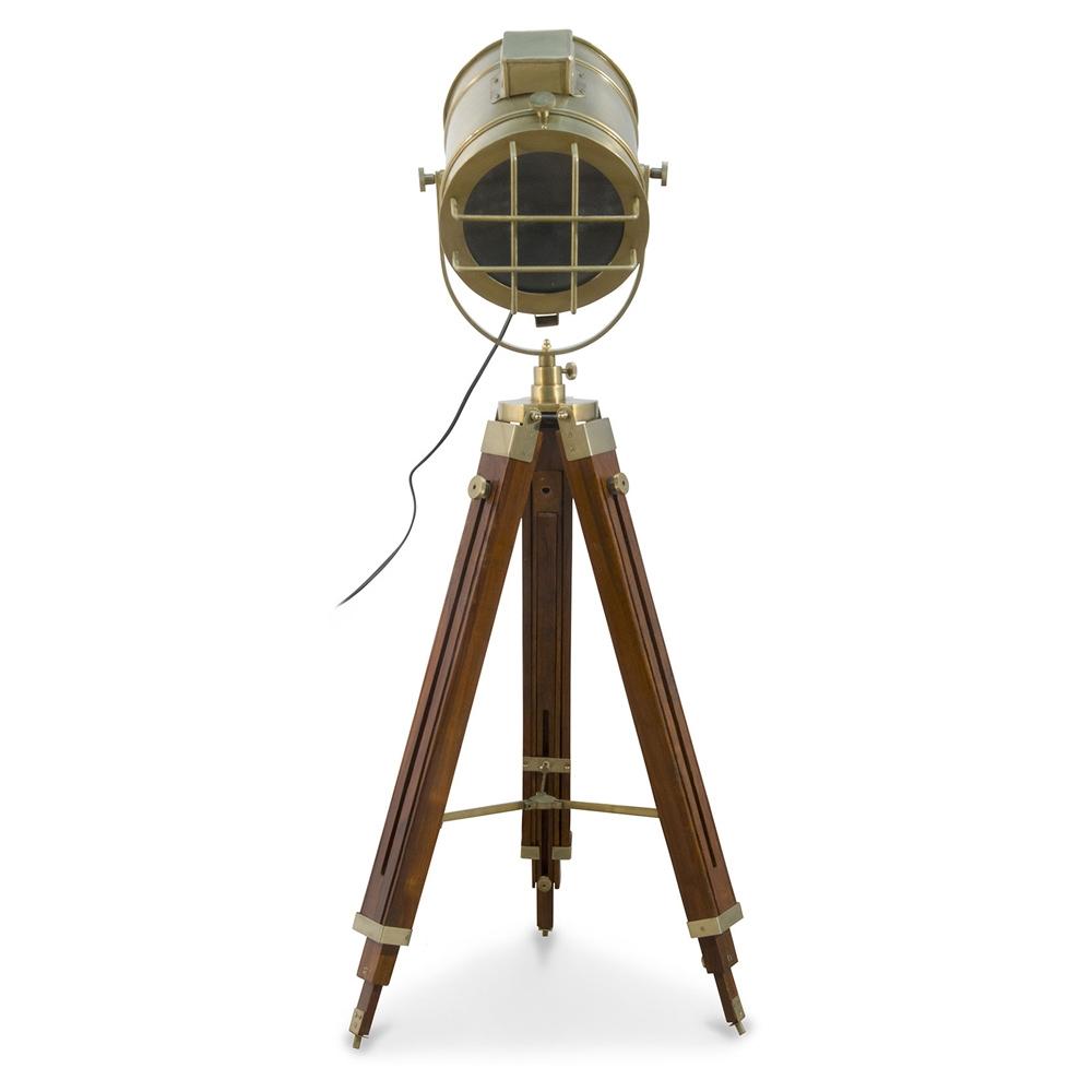 Buy Vintage Tripod Projector Floor Lamp Steel And Wood Brown Brown