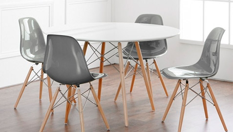 Four Gray Chairs and White Table