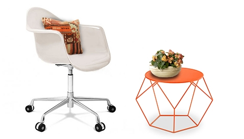 Orange Side Table and White Chair