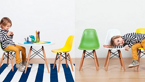 Kids Colorful Chairs and White Table