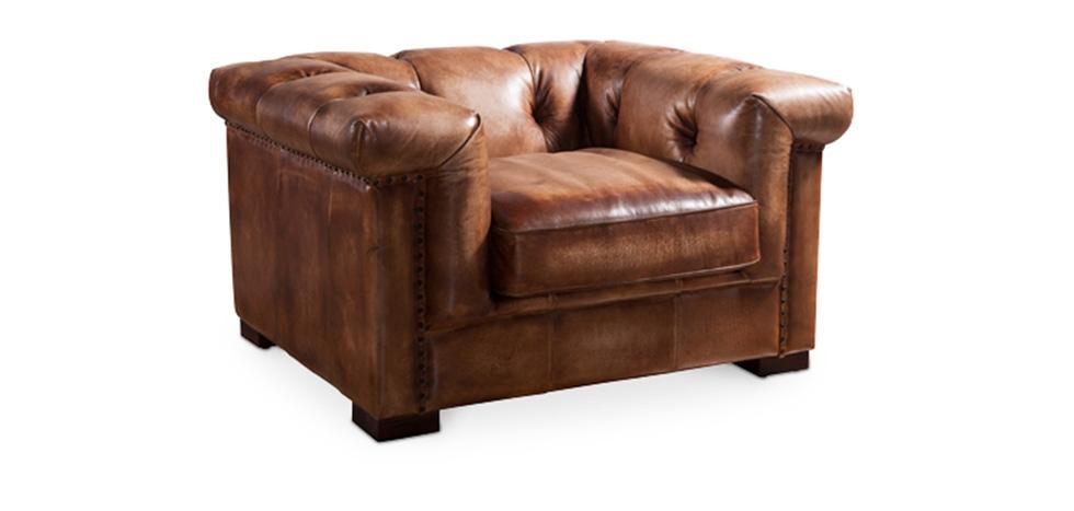 Buy Vintage Chesterfield armchair Wesley Vintage brown ...