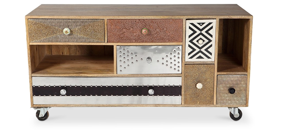 Mady Vintage Design TV Cabinet with Wheels - Front View